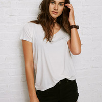 Don't Ask Why Raw Edge V-Neck T-Shirt, Chalk