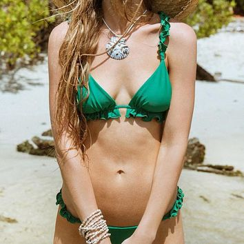 Summer New Fashion Solid Color Straps Two Piece Bikini Swimsuit  Green