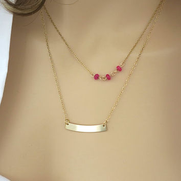 Layering Necklace in 14k Gold Fill, Beaded Chain Necklace Ruby, Name Bar Necklace, Ruby Gem Bar Gold Necklace