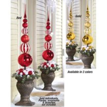 Collections Etc Christmas Stacked Ornament Ball Finial Topiary Stake Stake Red
