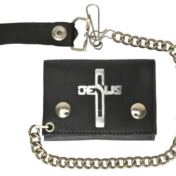 Genuine Leather Biker Chain Trifold Wallet Jesus Cross imprint 946-46 (C)