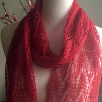 Hand knit red lace scarf, red lace long scarf, lace summer scarf,  alpaca silk summer scarf.