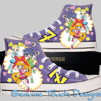 Hand Painted Converse Hi Sneakers. Fanart Powerpuff Girls Z Anime. Custom Handpainted shoes.