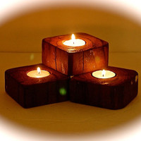 """Reclaimed Wood Block Tealight Trio Candle Holders - Driftwood Candle Holders 3.5"""" X 3.5"""" x 1.5"""" Stained to look like Brazilian Koa Wood"""