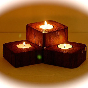 "Reclaimed Wood Block Tealight Trio Candle Holders - Driftwood Candle Holders 3.5"" X 3.5"" x 1.5"" Stained to look like Brazilian Koa Wood"