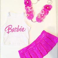 Barbie Costume, Barbie, Barbie outfit, LED Flower Crown, Halloween Costume, EDC, Ultra Music Festival