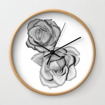 Grey Roses Wall Clock by drawingsbylam