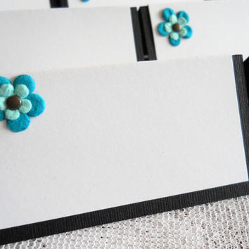 Black White and Teal Place Cards, Seating Cards, Food Labels Wedding Bridal or Baby Shower - Set of 12