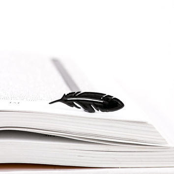 Bookmark FEATHER  laser cut metal powder coated black Stylish unique gift for book lover Free shipping.