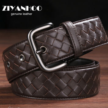 Spanish Import Cowhide leather men braided belts designer feragamo belt men high quality  luxury brand  Leather strap wide Z009