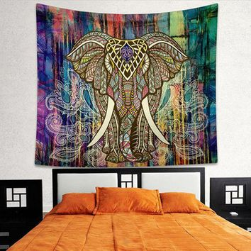MDIG9GW Indian Elephant Mandala Tapestry Bright Color Bohemia Hanging Printed Decorative Wall Tapestries Exotic Bedroom Living Rome T0.4