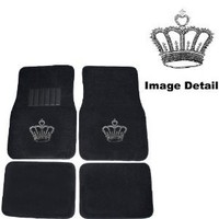 Crown Gem Crystal Studded Rhinestone Car Truck SUV Front & Rear Seat Carpet Floor Mats