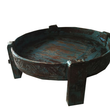 Antique Wooden Chakki Table Hand Carved Side Table India Furniture