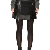 Diesel Black Gold Black Lether And Wool Oparty Skirt