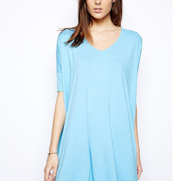 Sky Blue V-Neck Short Sleeve Mini Shirt Dress