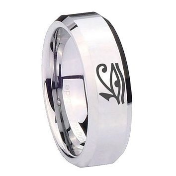 8MM Mirror Bevel Edges Seeing Eye Silver Tungsten Laser Engraved Ring