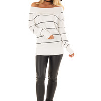 Off White and Black Striped Pullover Knit Sweater