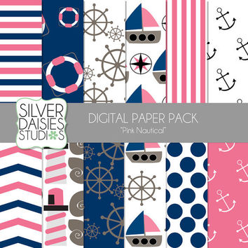 "Pink Nautical Digital Paper 12 Pack- INSTANT DOWNLOAD - 12""x12"" Summer Ocean Nautical Themed Set - Digital Scrapbooking - Ships, lighthouse"