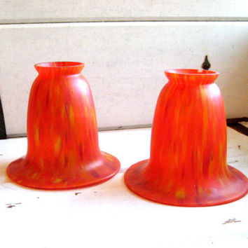 Vintage glass pendant shades, retro orange, red, pink set of two tulip shaped kitchen pendant lamp covers