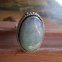 Aquamarine Gemstone Ring Statement Ring  Size 10 Ring  Cocktail Ring Sea Blue Ring Handmade Ring Beaded Ring Oval Swirl Cabochon Ring