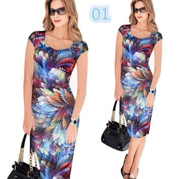 Women Dress Elegant Floral Print Work Business Casual Party Summer Sheath Vestidos -0331