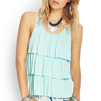 FOREVER 21 Tiered Crochet Tank Mint