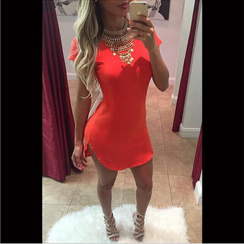 Red Short Sleeve Side Slit Dress