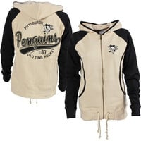 Pittsburgh Penguins Old Time Hockey Women's Mel Hoodie - Cream/Black