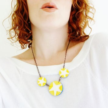Lemon Zest Nautical Starfish Necklace - Star Fish Wooden Necklace, Hand Painted Jewelry - Lightweight Circle Necklaces Yellow Star Pendants