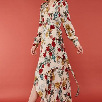 Floral Print Surplice Wrap Hi-Low Maxi Dress