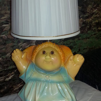 Vintage 80s Chalkware Rare Cabbage Patch Doll Lamp