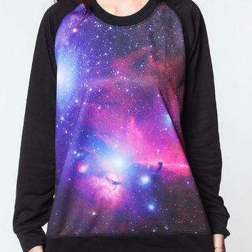 Galaxy Sweatshirt Pink & Blue Cosmic Sweater Women Long Sleeve Black Shirts Tee Shirt Men Jersey Women Unisex T-Shirts Size M L