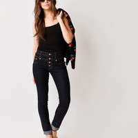 Dark Wash High Waisted Button Up Skinny Jeans