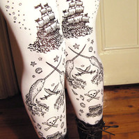 Pirate Printed Tights Womens Sailor Tattoos Small by TejaJamilla