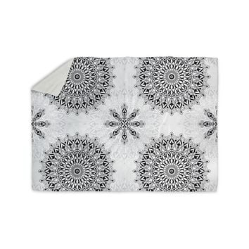 "Julia Grifol ""Black Mandala"" White Black Sherpa Blanket"