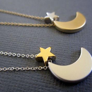 Star Moon Necklace Crescent Moon and Star necklace Two by Muse411