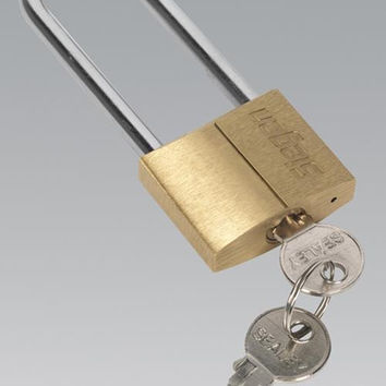 Sealey - S0989 Brass Body Padlock with Brass Cylinder Long Shackle 40mm