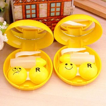 1PC Travel Glasses Contact Lenses Box Contact lens Case for Eyes Care Kit Holder Container Gift Drop Ship Cute Emoji Print Box