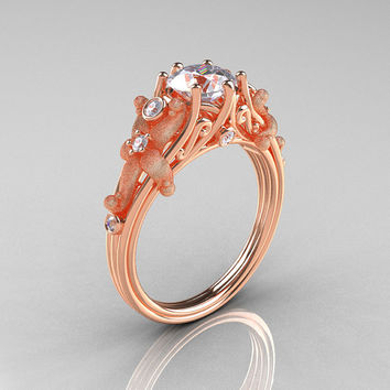 Fantasy Vintage 18K Rose Gold 1.0 CT Round White Sapphire Diamond Sea Star Engagement Ring R173-18KRGDWS