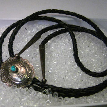 Vintage Sterling Silver Concho with Turquoise Stone Black Leather Bolo Tie, 14""