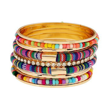 Rhinestone Bead Bangle bracelet Multilayer