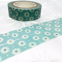 white daisy washi masking tape 10M little flower washi tape white flower sticker tape blue flower garden flower blossom florist planner gift