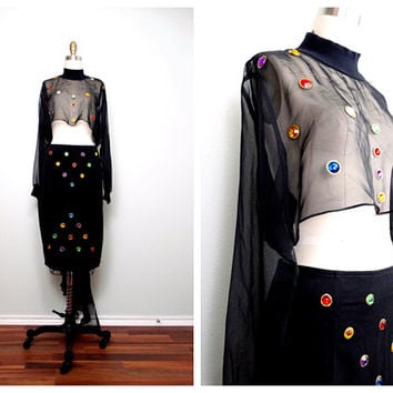 80s 90s Sheer Crop Top and Skirt // Jewel Embellished Retro Glam Dress // Black Cropped 2 Piece