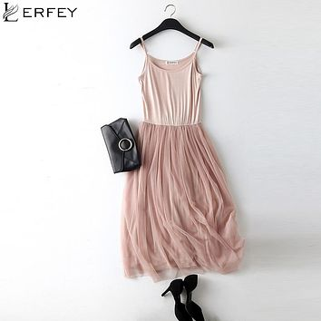 LERFEY Sexy Spaghetti Strap Patchwork Mesh Dress Spring Summer Women Gauze Lace Tank Casual Dresses Sundress Party Vestidos