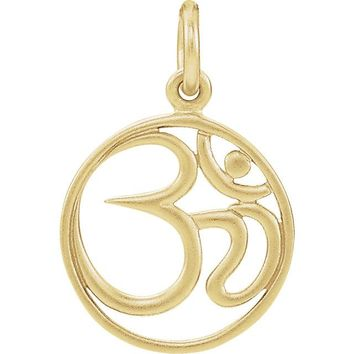 Sterling Silver Plated with 24K Yellow Gold Plating Ohm Charm Pendant