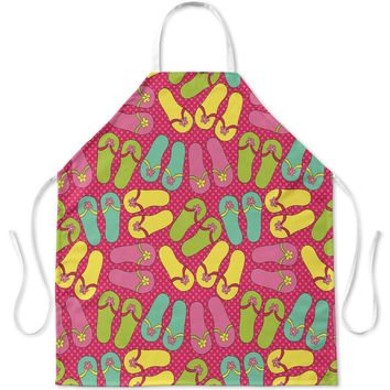 GIRLS SANDALS PATTERN ON PINK POLKA DOTS Apron By Northern Whimsy