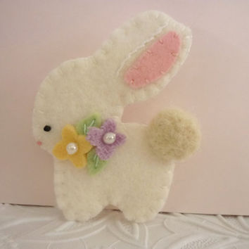 Bunny Brooch Pin Easter Wool Felt  Spring Felted Flowers