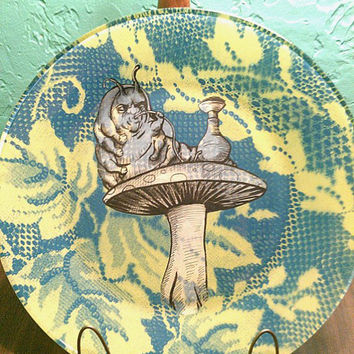 "Alice in Wonderland ""Hookah-Smoking Caterpillar"" Original Illustration Dark Art Glass Dinner Plate/Decorative Plate"