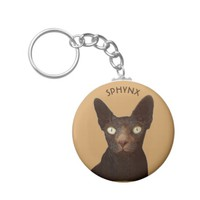 Sphynx Cat With Yellow Eyes Abstract Drawing Basic Round Button Keychain