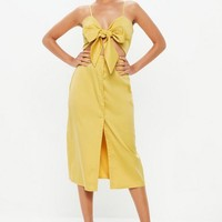Missguided - Mustard Tie Front Button Down Strappy Midi Dress